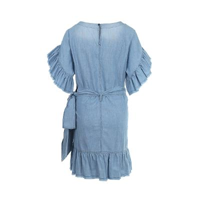 ruffle detail denim wrap dress